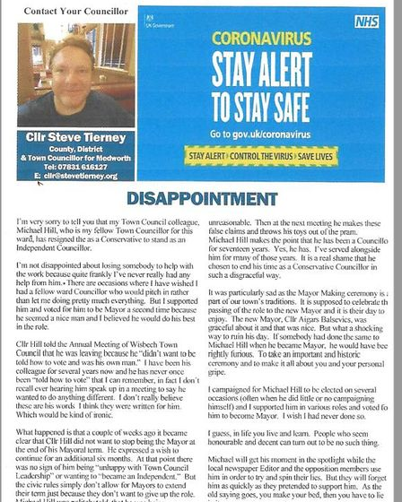 Part of the leafet sent out by Cllr Steve Tierney to Wisbech residents in which he criticises his fe