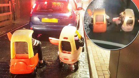 Two children were spotted trying their luck at McDonalds drive-thru in Wisbech in two ride-on plasti