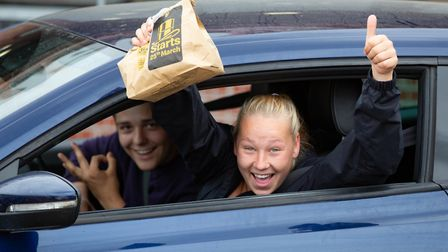Customers at Wisbech McDonald's on the first day of its drive-thru reopening on June 3. Picture: Ter