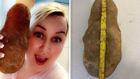 Support worker Jessie Lynn from Wisbech found a potato bigger than her head in her shopping. Picture