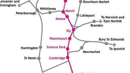 A map of the rail network in the Infrastructure for Growth report includes a link from March to Wisb