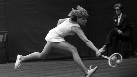Britain's Sue Barker in action on Centre Court at Wimbledon when she beat Australian Kerry Reid to r