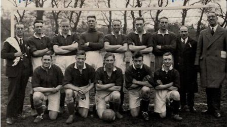 The Wisbech Town FC squad before the 1930-31 Clegg Cup Final, where Wisbech won 5-2 against Spalding