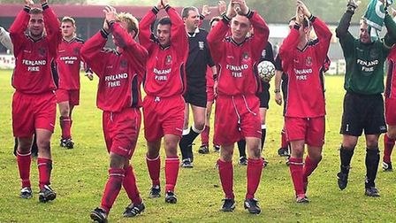 Wisbech players clap supporters as they make their way off the Fenland Park pitch. Picture: ARCHANT