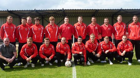 The Wisbech Town squad before their first game at the Elgoods Fenland Stadium during the 2010-11 sea