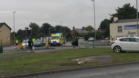 Car overturns in two vehicle collision in Wisbech tonight. PictureL JASON HATCHER