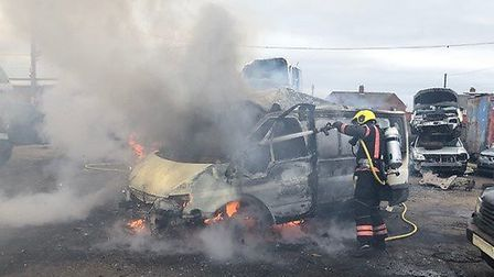 Firefighters were called to a van that was found alight in Leverington Common. Picture: CAMBRIDGESHI
