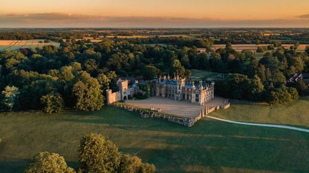 Knebworth House from the air. The Hertfordshire stately home will host Pub in the Park's drive in Ga
