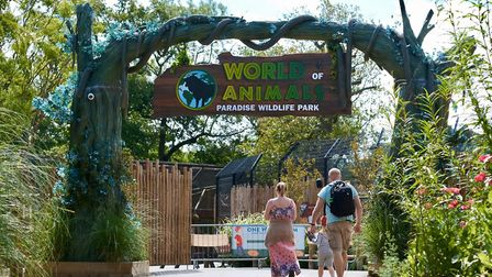 A family arriving at World of Animals at Paradise Widlife Park. Picture: Paradise Wildlife Park