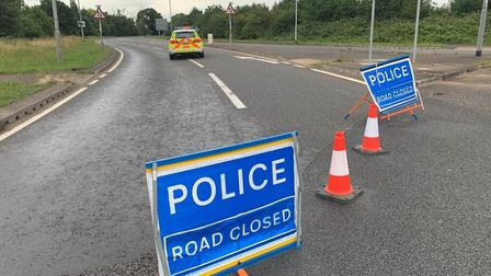 The A47 between Thorney and Eye is closed due to a serious collision involving a motorcyclist and a