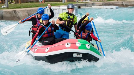 Family rafting at the Lee Valley White Water Centre. Picture: Eleanor Bentall
