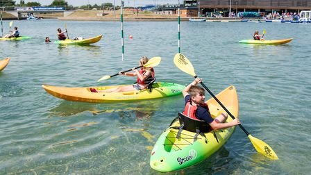 Kayaking on the lake at Lee Valley White Water Centre. Picture: Eleanor Bentall.