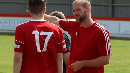 Wisbech Town boss Brett Whaley gives instruction to his substitute in their pre-season win over Pinc