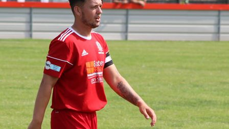Wisbech Town captain Liam Marshall during the pre-season win over Pinchbeck United. Picture: DAN MAS