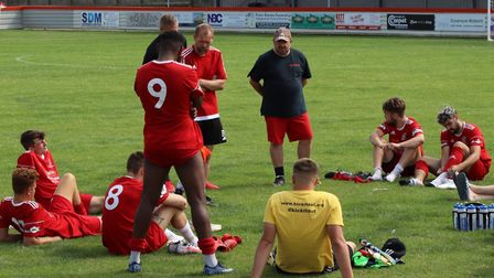 Brett Whaley speaks to his players after their pre-season win over Pinchbeck United. Picture: DAN MA