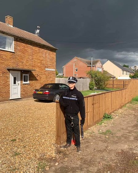 In prime position, PC Crow outside the Bryant family home. Picture: Lucy Bryant