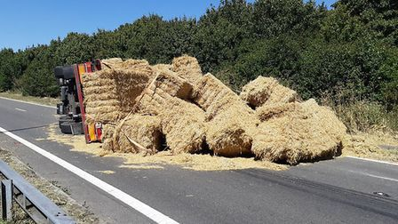 Hay has fallen off a lorry on South Mimms M25 Roundabout. Picture: Hertsmere Police