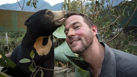Mary the Sun Bear with Giles Clark in Bears About The House. Picture: BBC/Cherique Pohl
