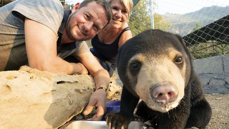 Giles Clark with his wife Kathryn and Mary the Sun Bear in Bears About The House. Picture: BBC/ Cher