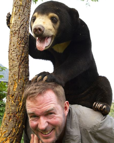 Mary the Sun Bear and Giles Clark in Bears About The House. Picture: BBC/Tom Jarvis