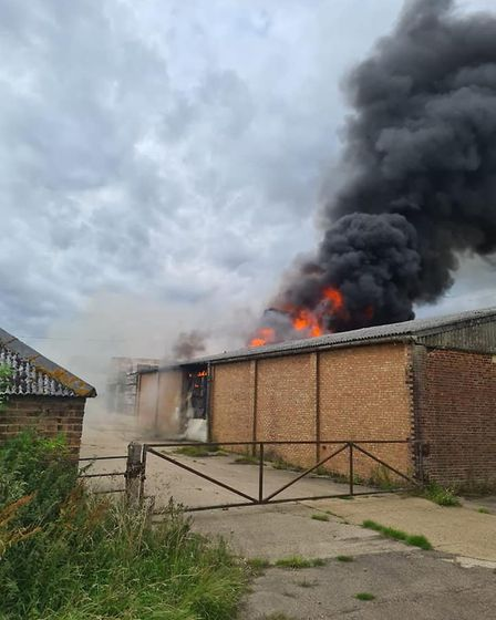Fire crews tackle a blaze at Mouth Lane, Wisbech St Mary, Speculation among residents is that it was