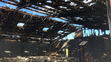 Damage caused to a barn in Mouth Lane, Guyhirn following a fire on Sunday, July 26 2020. Pictures: W