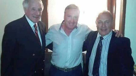 James' dad, former Wisbech Town player and manager Bill Clarkson (left) with ex-Fenmen boss Roy McMa