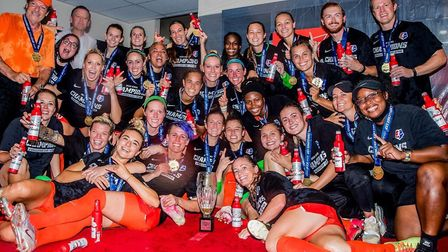 James celebrates with the Houston Dash team after winning the NWSL Challenge Cup. Picture: SUPPLIED/