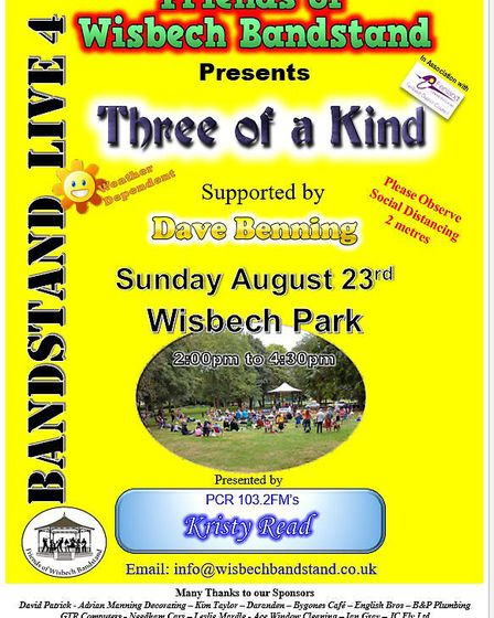 Wisbech Bandstand event on Sunday, August 23.