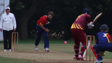 Brodie Ellis bowling for Wisbech against March. Picture: DAN MASON