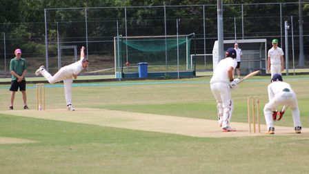 Steve Stroomer of Datchworth bowls against Letchworth. Picture: WILL NASH