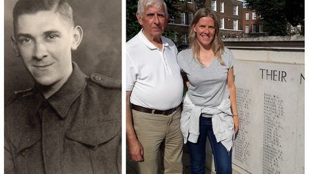 Corporal Kenneth Charles Harnwell in uniform (left). Right, Maurice Cowling with daughter Faith Cowl
