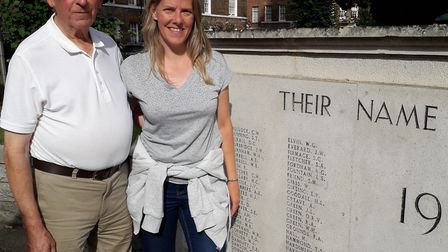 Maurice Cowling with daughter Faith Cowling, Kenneth's nephew and great niece respectively, standing