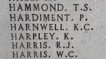 The Wisbech war memorial bearing Kenneth's name. Picture: FAMILY