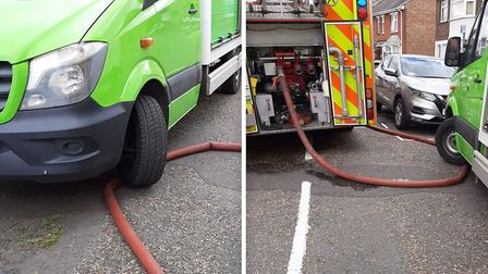 The bright green supermarket delivery van parked on a fire engine hose in Wisbech cutting off the w