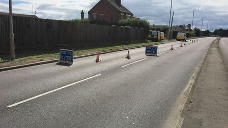 Churchill Road Wisbech today (Sunday August 23) where there has been a large police presence at a de