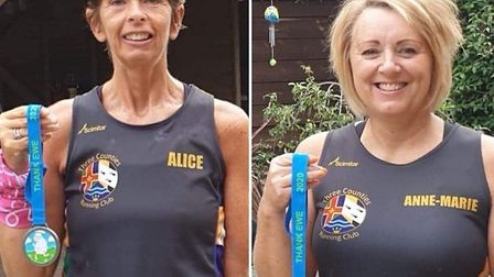 Alice Ingman and Anne-Marie Mattless with their sheep medals. Picture: SARAH-JANE MACDONALD