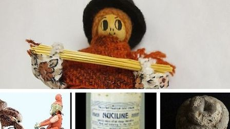 Straw plaiter peg doll, Peggy Straw, from the Dacorum Heritage Trust, Record Peter and his young cou