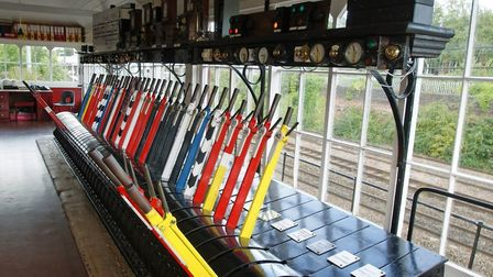 The 'Lever Frame' is the heart of the manual signalling system demonstrated at the preserved St Alba