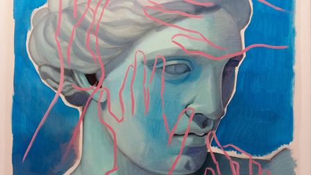 Painter Mary Savva's Blue Aphrodite with Pink Hands, 2019, oil on linen can be seen in the Fine Art