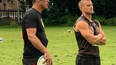 Wisbech head coach Gerhard Wessels (left) and Darryl Veenendaal. Picture: WISBECH RUGBY CLUB