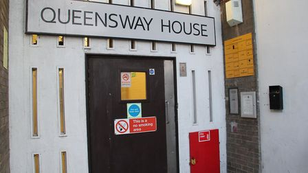 The front door of Queensway House. Picture: Charlotte McLaughlin