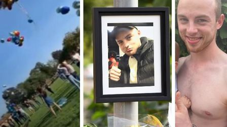 Balloons (left) and floral tributes (middle) to Tom Lewis, 23, the victim of last week's stabbing in