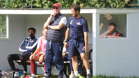 WGC V Saffron Walden Town - Manager Nick Ironton and assistant Ricci Crace on the WGC bench.Picture: