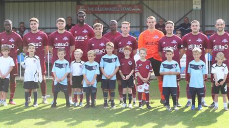 The Welwyn Garden City team prior to their victory over Saffron Walden Town in the FA Cup. Picture: