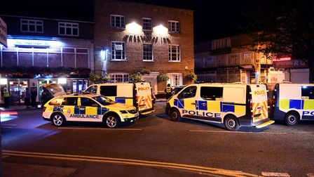 Two people in hospital after clashes in Wisbech tonight between what appears to be rival groups. Pol