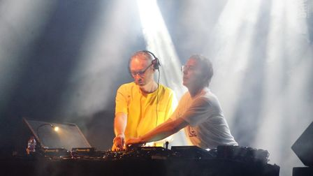 Basement Jaxx on stage during their DJ set on the opening night of Pub in the Park's drive in Garden