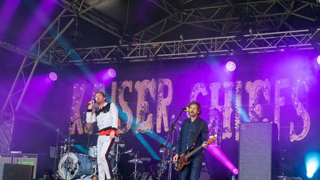 Kaiser Chiefs playing Pub in the Park's drive in Garden Party at Knebworth House. Picture: Robert Ja
