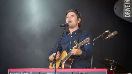 Scouting for Girls playing Pub in the Park's drive in Garden Party at Knebworth House. Picture: Robe