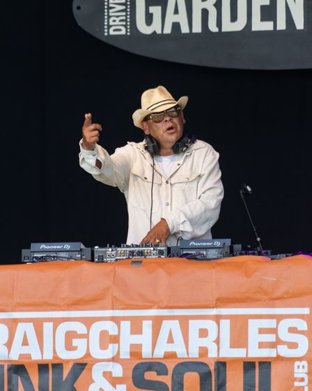 Craig Charles DJing at Pub in the Park's drive in Garden Party at Knebworth House. Picture: Robert J